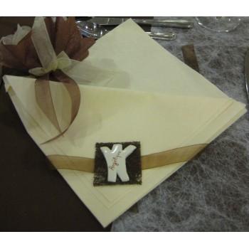 8 x Portes-serviette avec prénom des invités