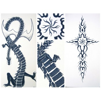Triptyque dragon & flamming tribal 3 x (50x100cm)
