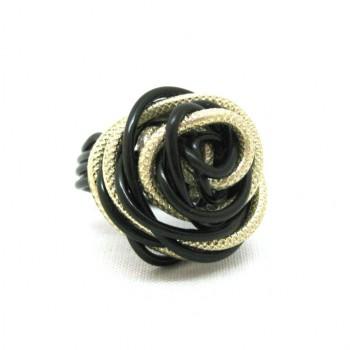 Bague alu noire/or striée, modèle fleur
