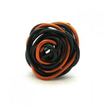 Bague alu noire/orange , modèle fleur
