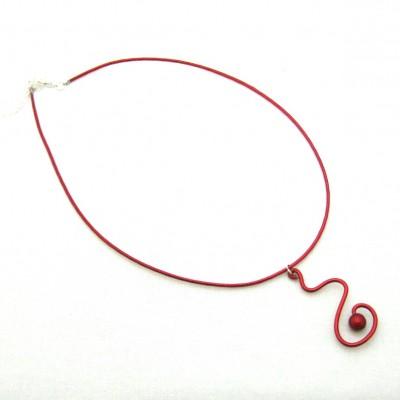 Collier alu zig-zag rouge avec perle magique rouge