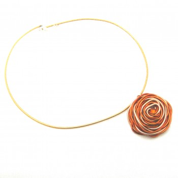 Collier alu orange/saumon, modèle fleur