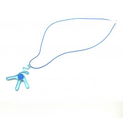 Collier alu turquoise avec strass cristal rock bleu royal