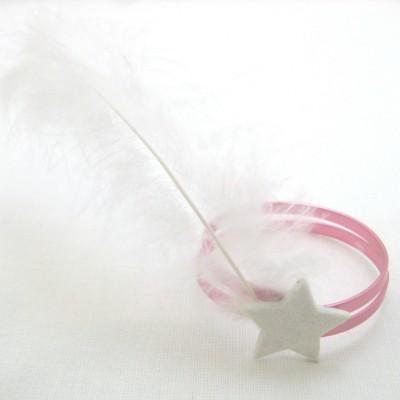 2x Rond de serviette alu rose clair/plume blanche