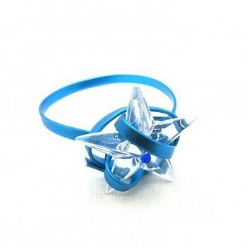 2x Rond de serviette alu bleu/étoile glaçon