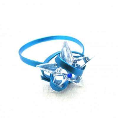 8x Rond de serviette alu bleu/étoile glaçon