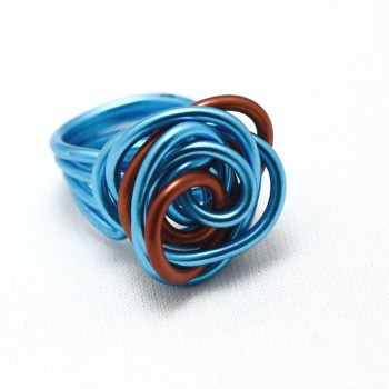 Bague forme rose bleu/orange