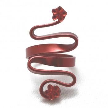 Bague rouge, zig-zag avec strass fleur rouge