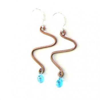 Boucles d'oreilles zig-zag, marron clair & goutte aquamarine