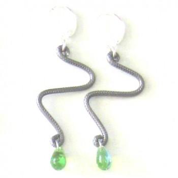Boucles d'oreilles zig-zag anthracite & goutte verte moirée
