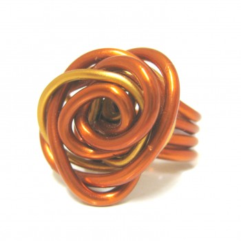Bague fleur orange/saumon